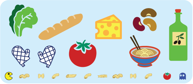Clip art of various food items
