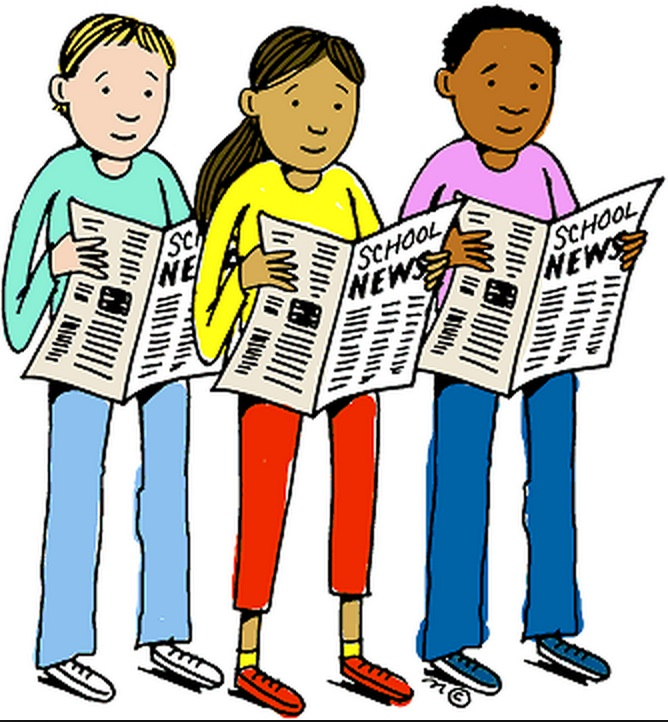 Graphic Image--Students holding school newspapers